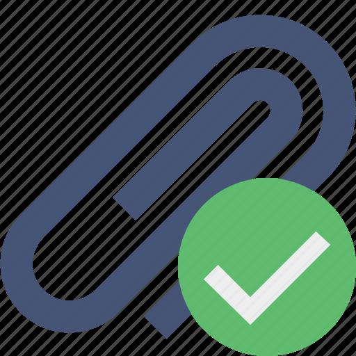 attach, attachment, clip, ok, paper, paperclip icon