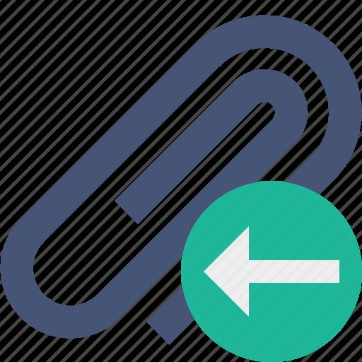 attach, attachment, clip, paper, paperclip, previous icon