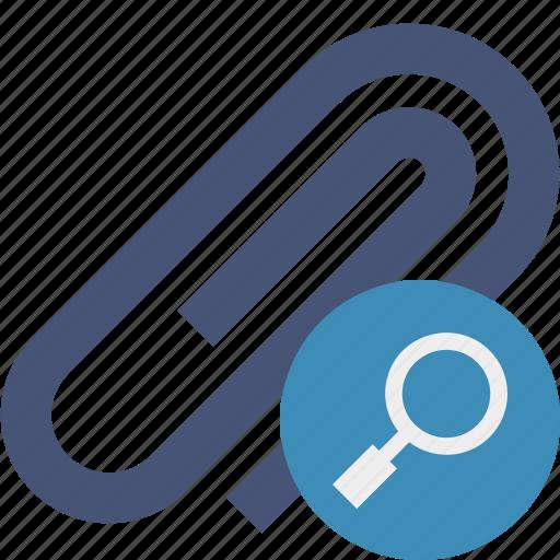 attach, attachment, clip, paper, paperclip, search icon