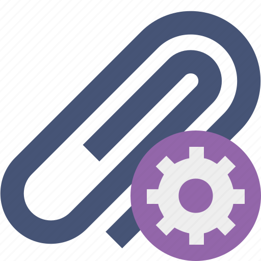 attach, attachment, clip, paper, paperclip, settings icon