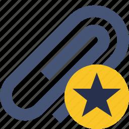 attach, attachment, clip, paper, paperclip, star icon