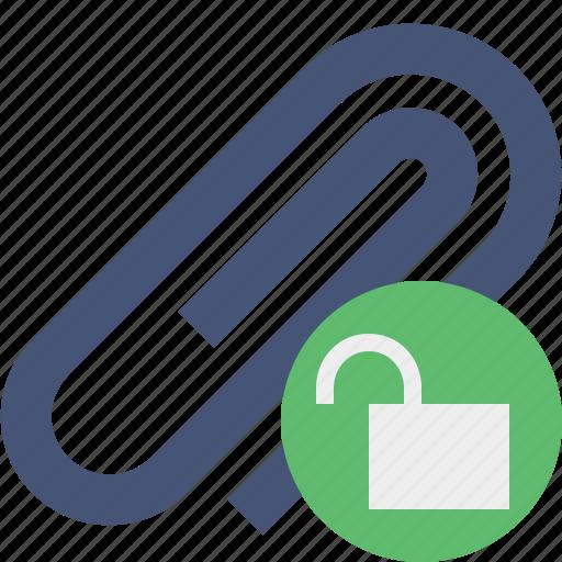 attach, attachment, clip, paper, paperclip, unlock icon