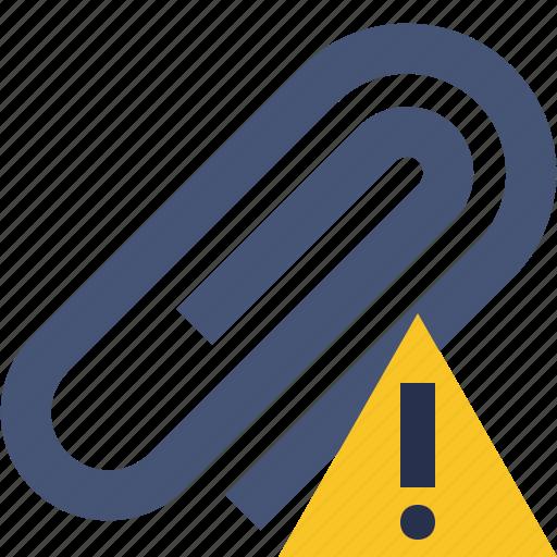 attach, attachment, clip, paper, paperclip, warning icon
