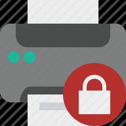 document, lock, paper, print, printer, printing icon