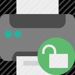 document, paper, print, printer, printing, unlock icon