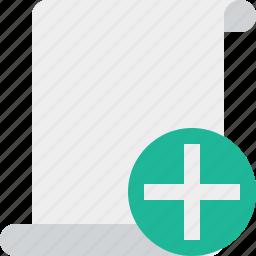 add, blank, code, paper, script, scroll icon
