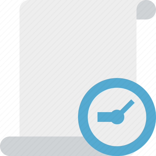 blank, clock, code, paper, script, scroll icon