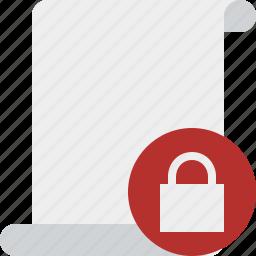blank, code, lock, paper, script, scroll icon