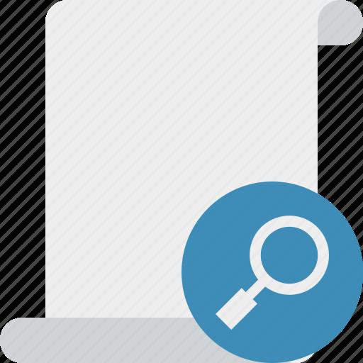 blank, code, paper, script, scroll, search icon