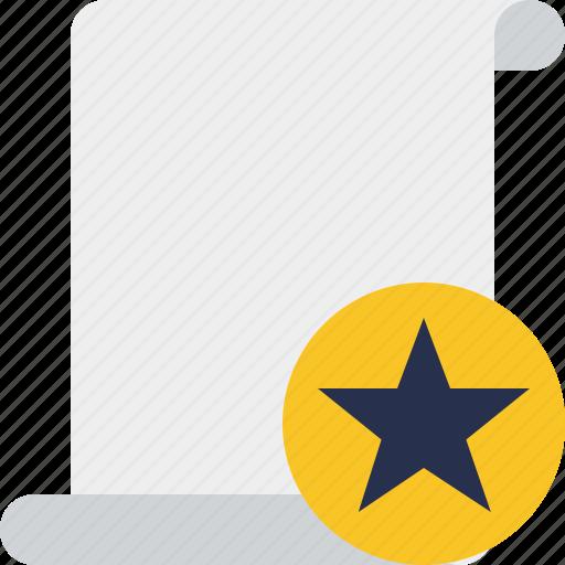blank, code, paper, script, scroll, star icon
