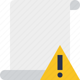 blank, code, paper, script, scroll, warning icon