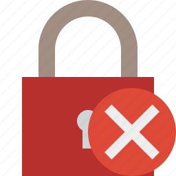 access, cancel, lock, password, protection, secure icon