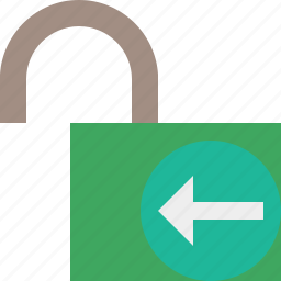 access, password, previous, protection, secure, unlock icon