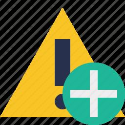 add, alert, caution, error, exclamation, warning icon