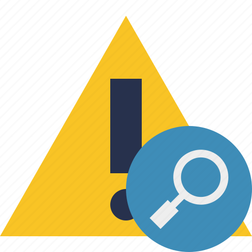 Search, warning, alert, caution, error, exclamation icon - Download on Iconfinder