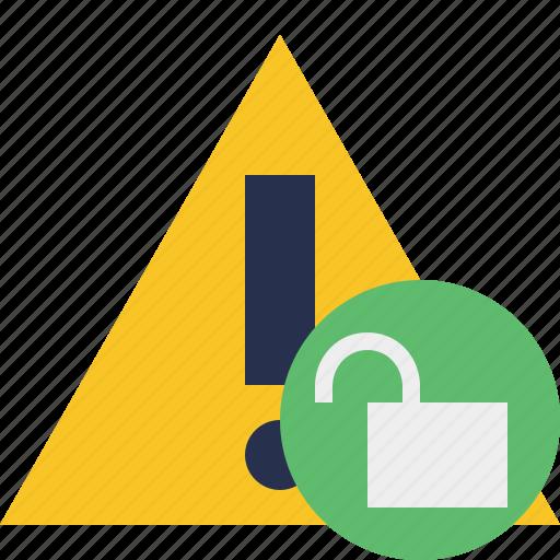 alert, caution, error, exclamation, unlock, warning icon