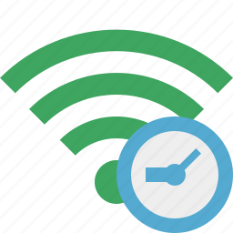 clock, connection, green, internet, wifi, wireless icon