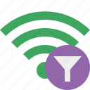 connection, filter, green, internet, wifi, wireless icon