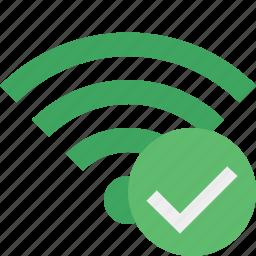 connection, green, internet, ok, wifi, wireless icon