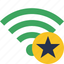 green, star, connection, internet, wifi, wireless