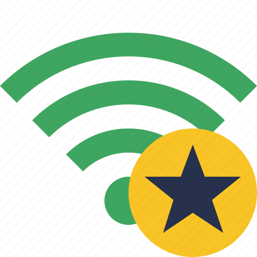 connection, green, internet, star, wifi, wireless icon