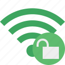 connection, green, internet, unlock, wifi, wireless icon