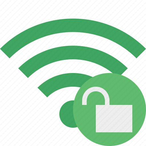 connection, green, internet, unlock, wifi, wireless icon