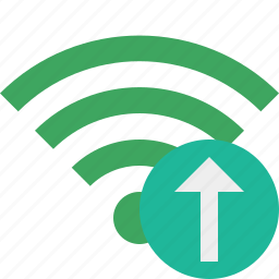 connection, green, internet, upload, wifi, wireless icon