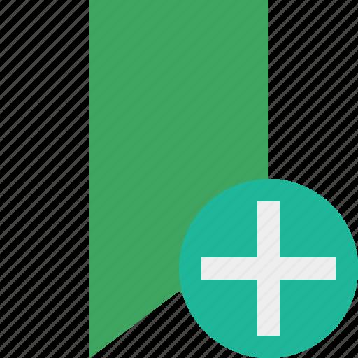 add, book, bookmark, favorite, green, tag icon