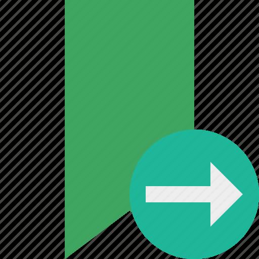 book, bookmark, favorite, green, next, tag icon