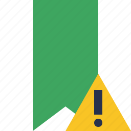 book, bookmark, favorite, green, tag, warning icon