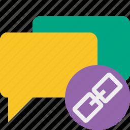bubble, chat, communication, link, message, talk icon