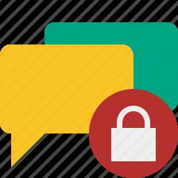 bubble, chat, communication, lock, message, talk icon