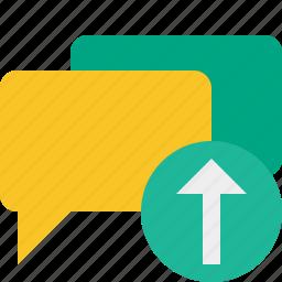 bubble, chat, communication, message, talk, upload icon