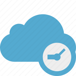 blue, clock, cloud, network, storage, weather icon