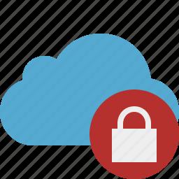 blue, cloud, lock, network, storage, weather icon