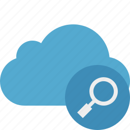 blue, cloud, network, search, storage, weather icon