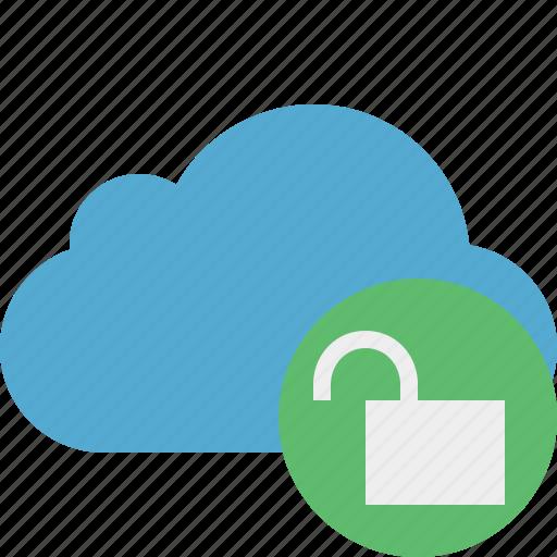 Blue, cloud, network, storage, unlock, weather icon - Download on Iconfinder