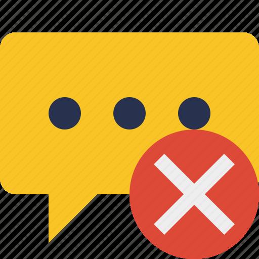 bubble, cancel, chat, comment, message, talk icon