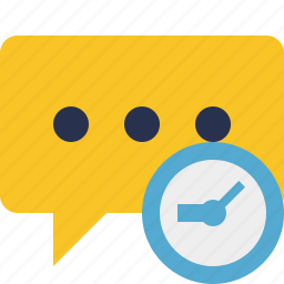 bubble, chat, clock, comment, message, talk icon