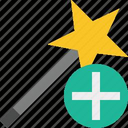 add, magic, tool, wand, wizard icon