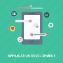 application, data, development, favourt, like, menu, mobile, music, play, search, setting, tuch screen, volium icon