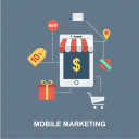 cart, discount, dollar, envelop, gift, location, mail, marketing, mobile, mobile marketing, mobile online shop, mobile shop, new, online shop, shopping, special icon