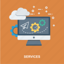 adjustment, administrator, cloud, computing, contact, customer, laptop, monitor, network, operator, problem, send, setting, solution, support, technical, technician, web, wrench icon