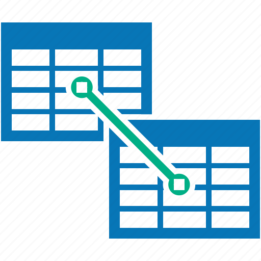 compound, conjunction, connection, excel, indexes, join, table icon