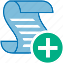 add, document, message, plus, script, text icon