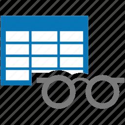 analyse, analyze, documentation, study, table, view, views icon