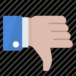 dislike, down, hand, no, thumb, unsatisfied icon