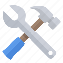 configuration, construction, hammer, repair, settings, tools, wrench icon