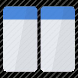 arrange, horizontal, identical, split, two, window, windows icon